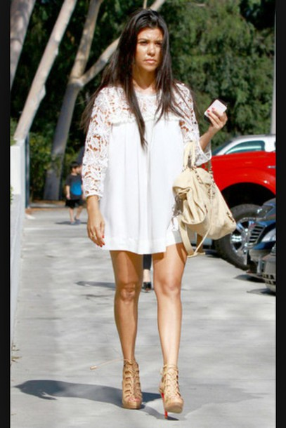 dress white dress lace sleeves short dress flowy dress white lace sleeves short bag