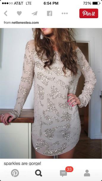 dress long sleeve dress sparkly dress