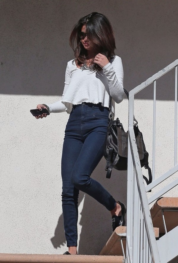 bag selena gomez jeans shirt shoes