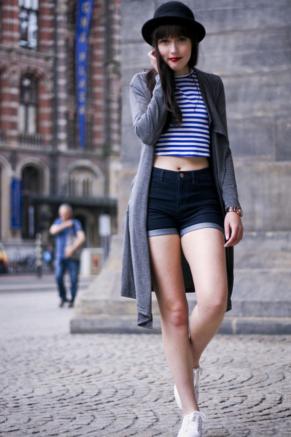 a dash of fash jewels top cardigan shoes shorts hat