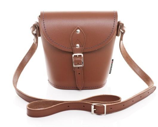 Chestnut Leather Barrel Bag