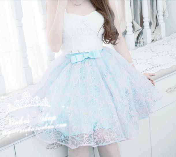 dress girl skirt blue skirt kfashion korean fashion bows bow dress blue dress bow skirt bow skirts