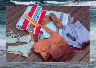 zanita blogger leather bag bikini beach towel high waisted shorts bag shoes sunglasses cardigan shorts