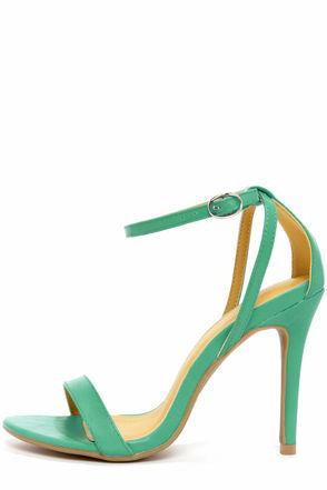 Cute Teal Heels - Ankle Strap Heels - Single Sole Heels - $28.00