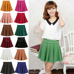 New Candy Color Women's Casual Sexy A Line Flared Mini Skirts Circle Short Skirt | eBay