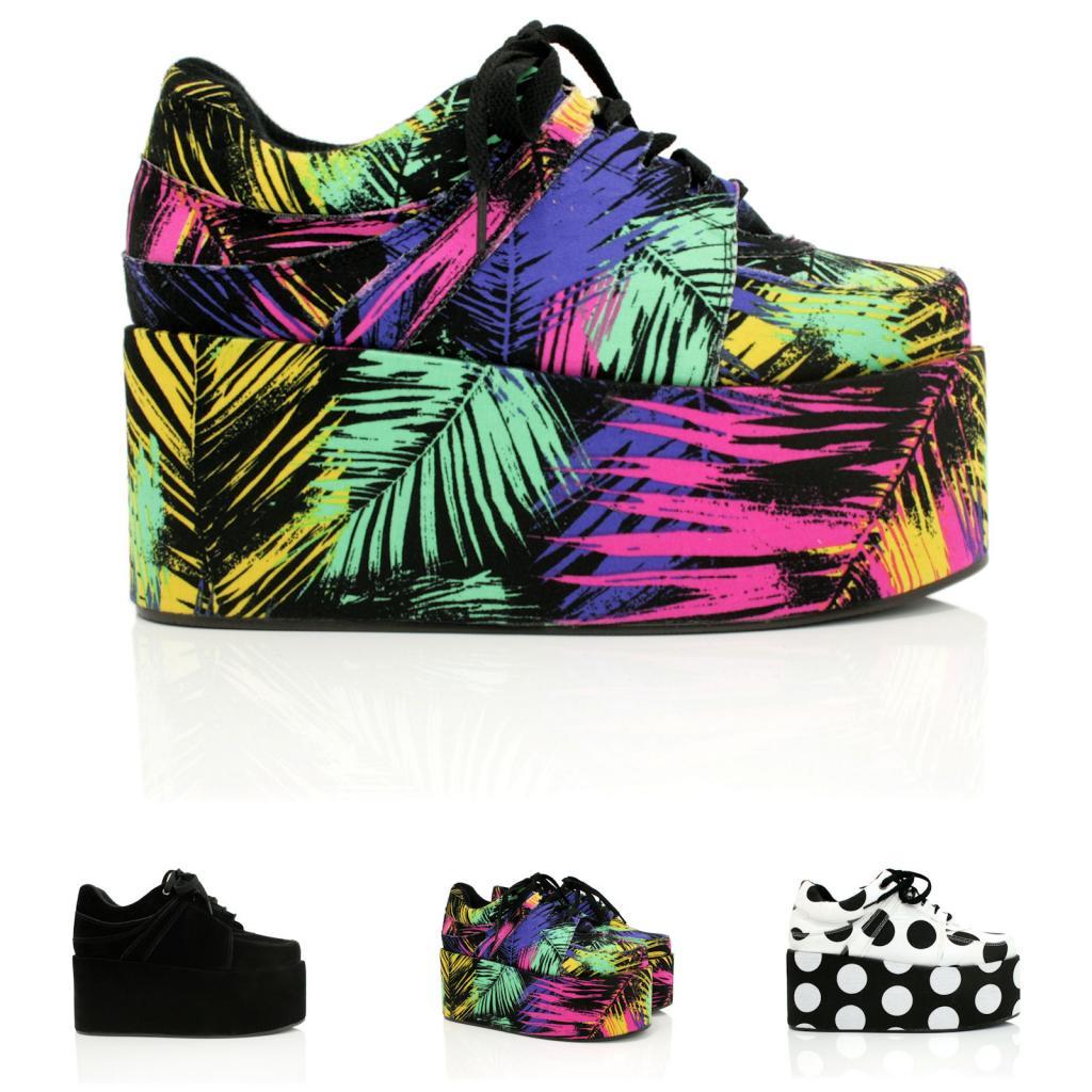 New Womens Flat Lace Up Flatform Creeper Platform Trainer Shoes Size | eBay
