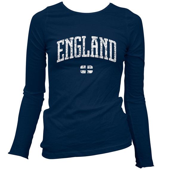 Women's England LS Tshirt  Long Sleeve Ladies Tee  by smashtransit