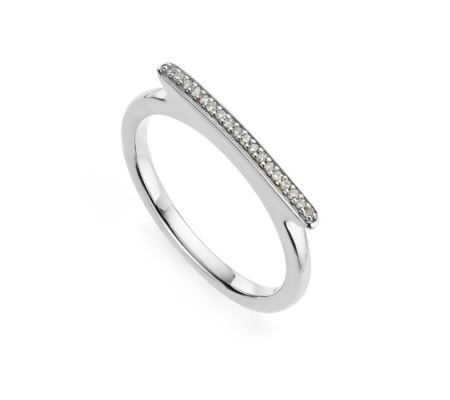 Diamond Pave Skinny Short Ring in Sterling Silver with Diamond | Jewellery by Monica Vinader