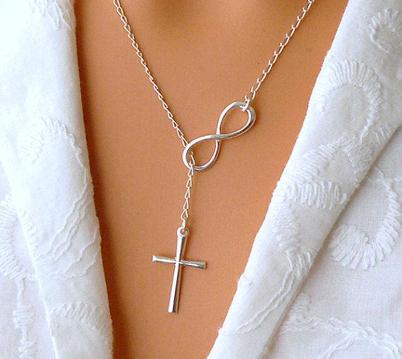 Infinity Cross Necklace  Sterling Silver Cross von SaraAndJane