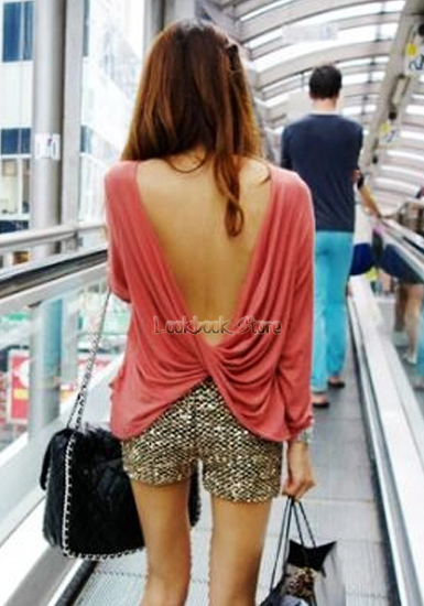 Women Sexy Long Sleeved Ruched Wrap Draped V-back Backless T-Shirt T Shirt Top   eBay