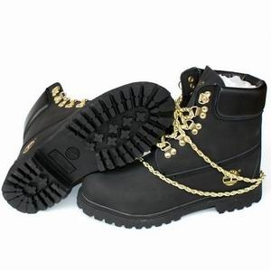 Timberland Custom Men 6-Inch Premium Rubber lug outsole Black With Gold Chain Boot