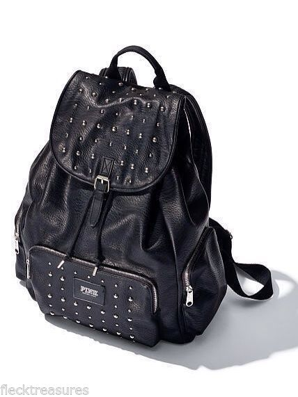 NWT Victoria's Secret Pink Mini Backpack Black Leather Studded Purse Cute | eBay
