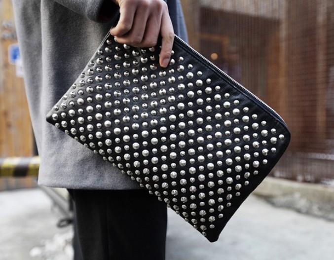 New Mens Women Stud Studs Studded Clutch Handbag Bag Purse Envelope Wallet Black | eBay