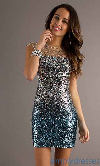 Short Beaded Dress, Open Back Sequin Party Dress - Simply Dresses