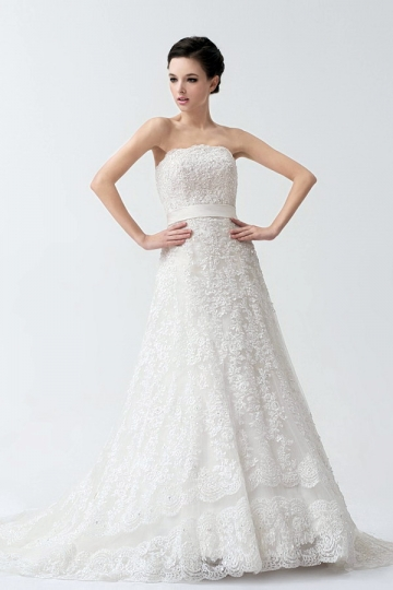 2014 Sweep Train Ivory Vintage Sleeveless Lace Wedding Gown With Sash [NW24066]- US$ 450.99 - PersunMall.com