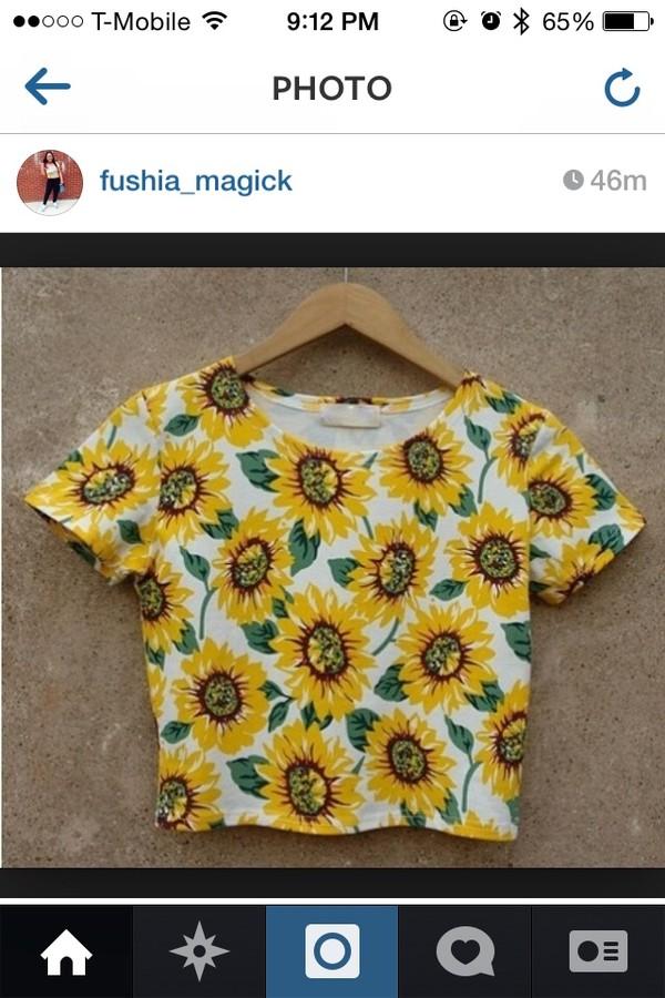 shirt floral crop top sunflower shirt sunflower crop top
