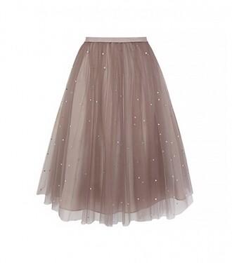 skirt cream tulle skirt blush taupe midi skirt mini skirt pll ice ball