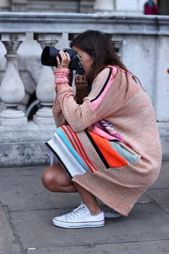 dress sartorialist indian print knee length dress bright colors stripedpd