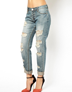 ASOS | ASOS Brady Slim Boyfriend Jeans in Vintage Wash with Extreme Rips at ASOS
