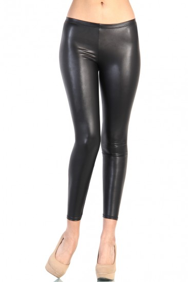 LoveMelrose.com From Harry & Molly   Leather Leggings - Black