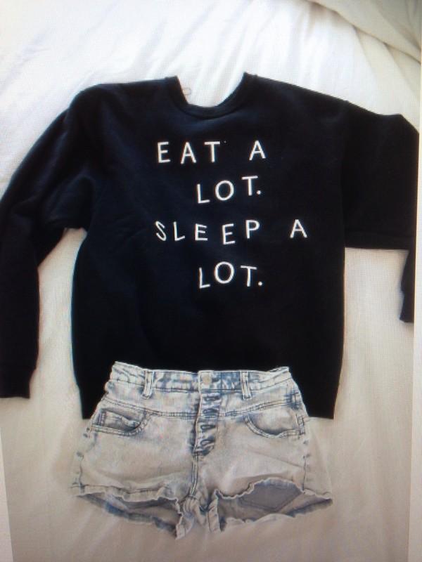 sweater black eat sleep wear