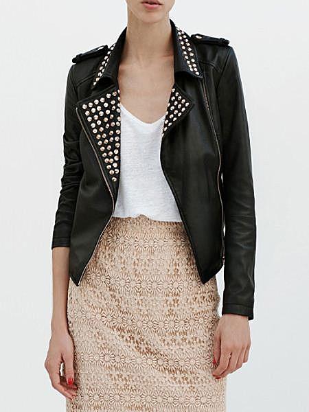 Studded PU Biker Jacket   Choies