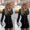 New women slim long sleeve buttons casual bodycon cocktail mini dress lovely