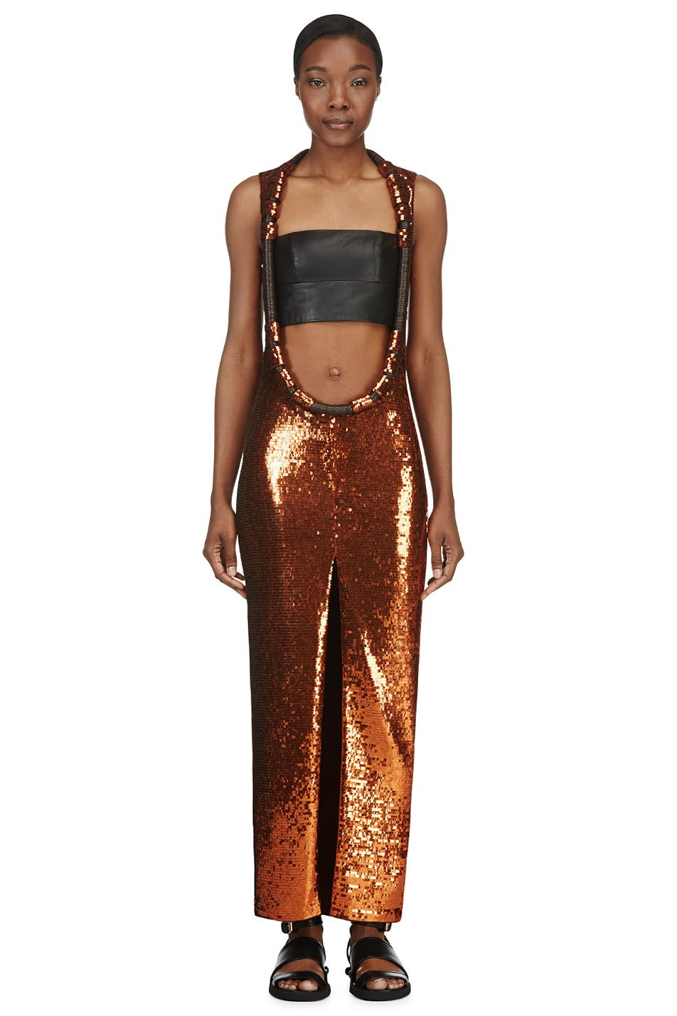 givenchy rust sequinned open_front dress
