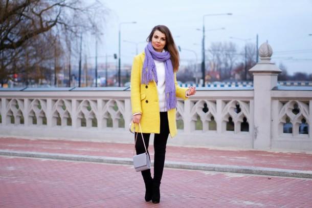 a piece of anna blogger scarf yellow coat mini bag coat bag shoes