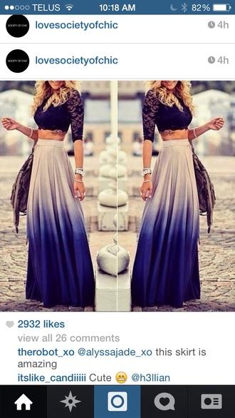 skirt purple chic ombre long hot maxi skirt fashion style black dark t-shirt