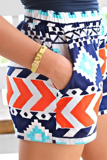 shorts navy orange turquoise aztec elastic waist