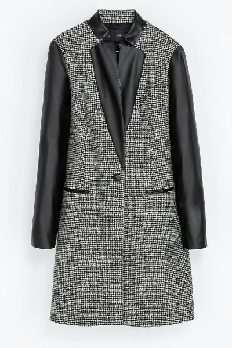 Houndstooth Leather Sleeve Joint Lapel Long Sections Overcoat,Cheap in Wendybox.com
