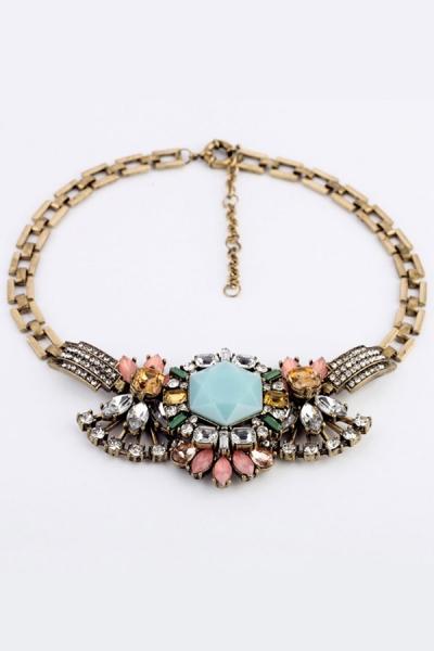 Distinctive Faux Stone Bib Necklace - OASAP.com
