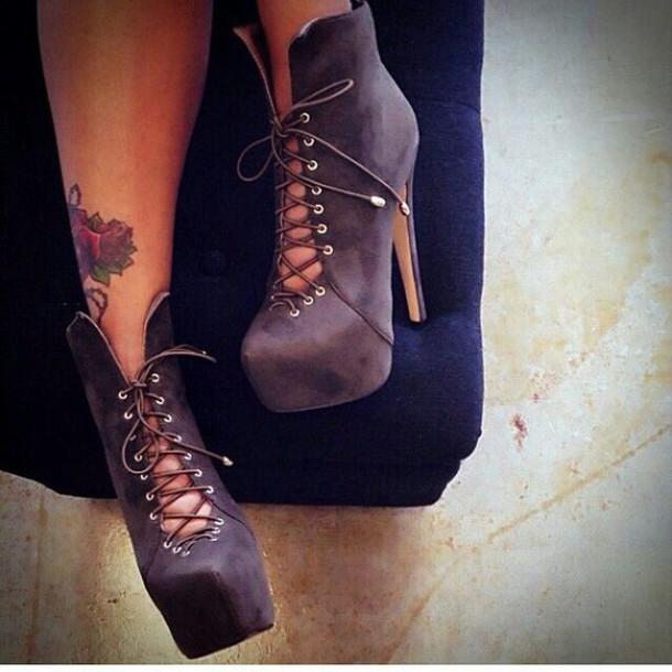 shoes lace up heels platform boots ankle boots high heels boots lace up boots grey boots