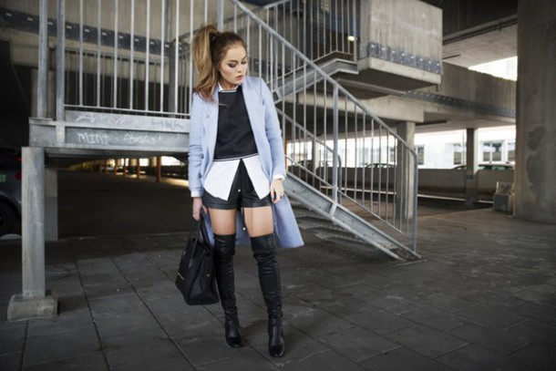 angelica blick blogger shirt leather shorts blue coat light blue