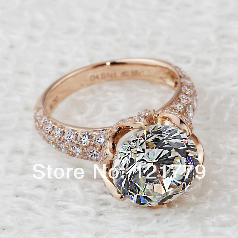pt950 Stamp Luxury 4carat diamond rings lab,Solitaire with Accents engagement & wedding rings micro pave gold diamond pave ring-in Rings from Jewelry on Aliexpress.com
