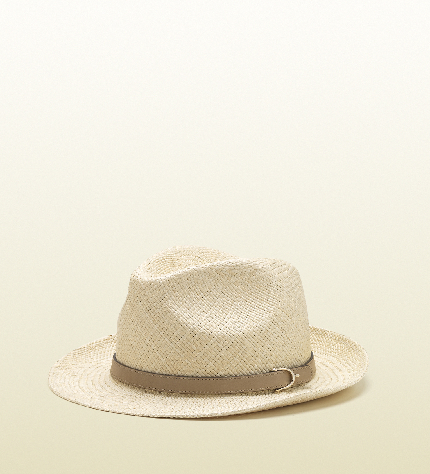 Gucci - natural straw hat with light pink leather detail 309129GIE1G9562