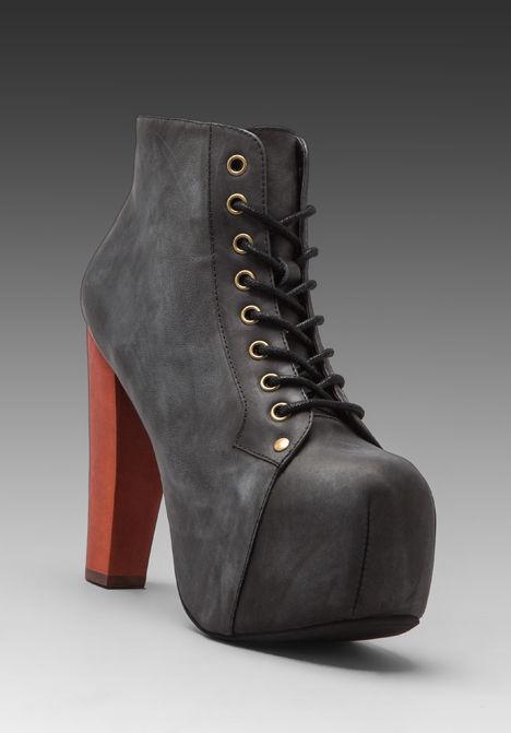 Jeffrey Campbell Lita Black Distressed Leather Lace Up Platform Ankle Bootie   eBay