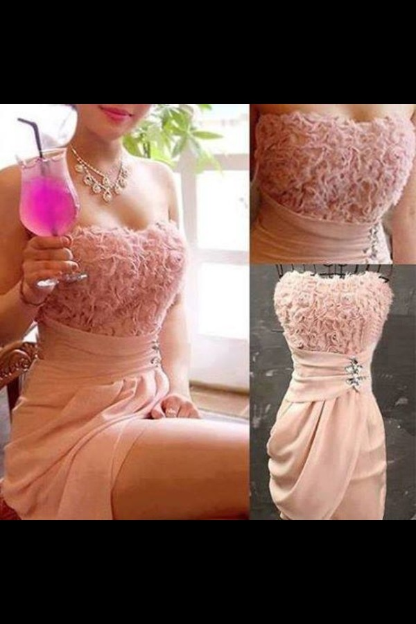 dress pink short flowers jewels cocktail dress roses pink dress