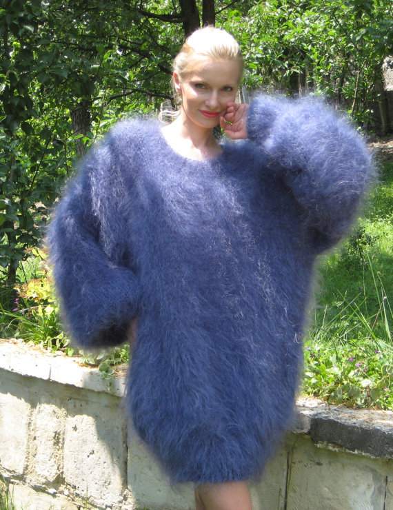 New Hand Knitted Mohair Sweater Fuzzy Slouchy BLUE by supertanya