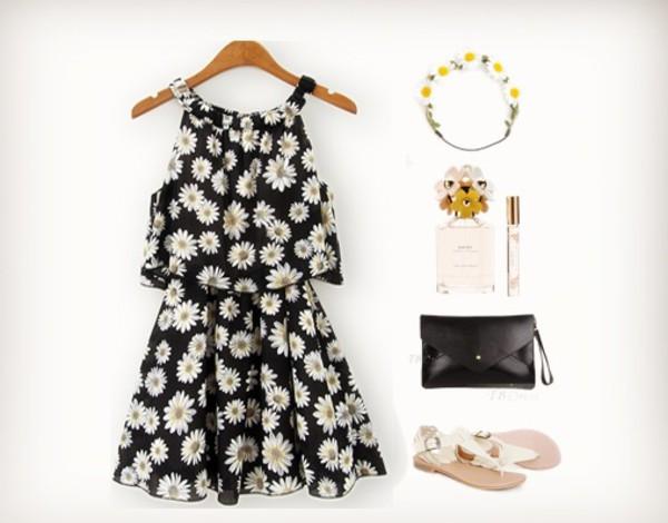 jumpsuit daisies pattern romper dress daisy jewels