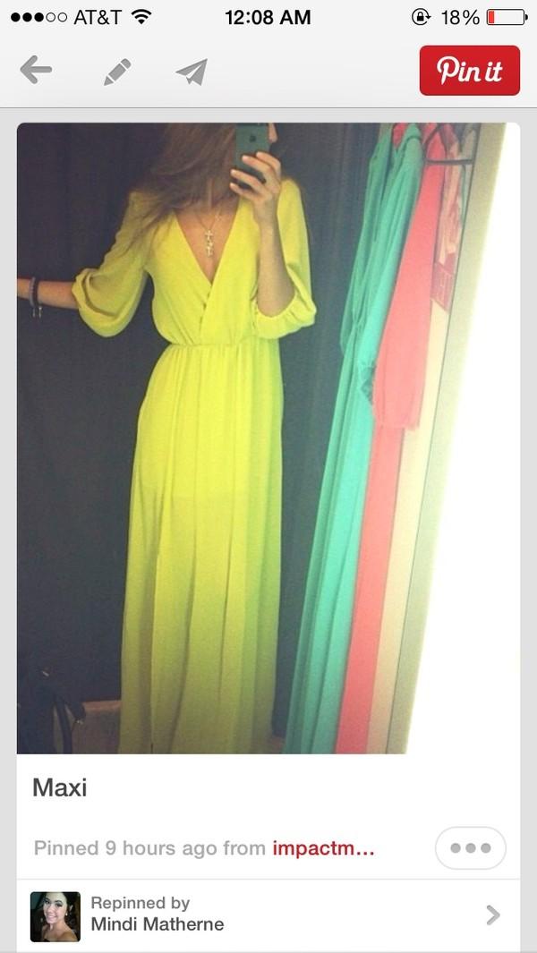 dress maxi yellow v neck neon yellow dress with high slit maxi-dress yellow dress