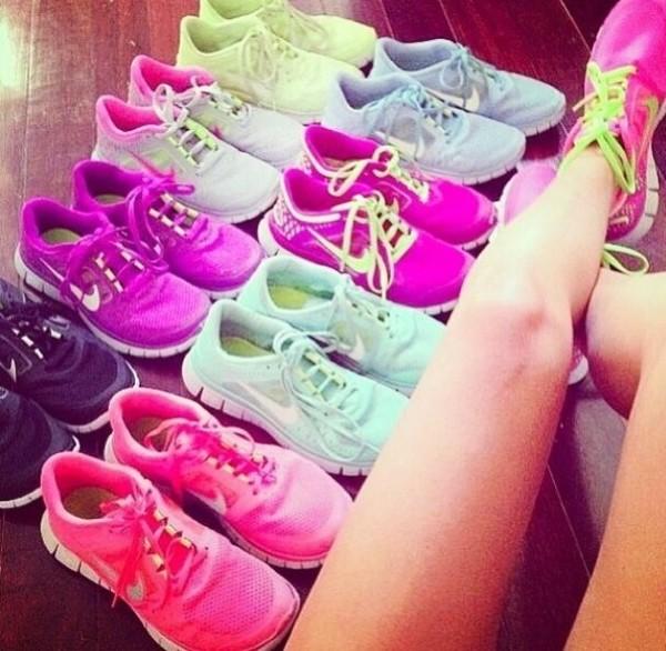 shoes pink green blue purple nike nike running shoes