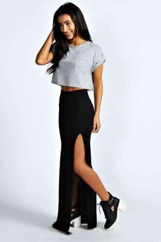 skirt black skirt maxi skirt slit in side tumblr slit skirt cute cute skirt pretty little liars t-shirt