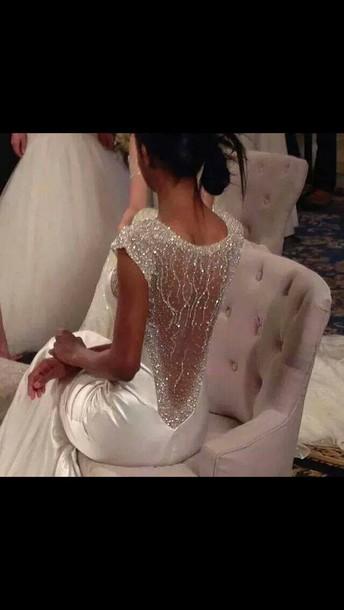 dress wedding dress silver lowback