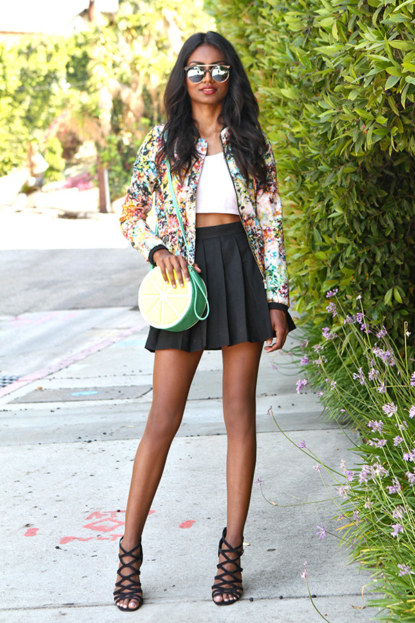 tuolomee skirt top jacket shoes sunglasses caged sandals mirrored sunglasses crop tops white top white crop tops pleated skirt mini skirt black skirt round bag sandals sandal heels high heel sandals