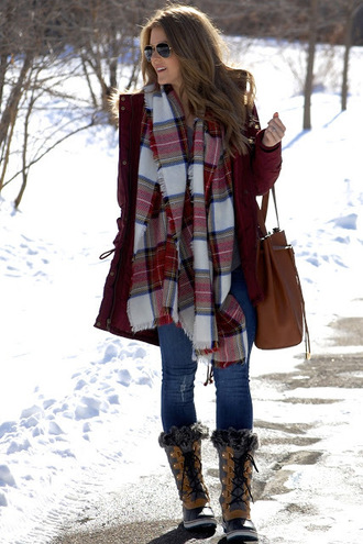 polishedandpink blogger coat jeans t-shirt scarf shoes bag sunglasses tartan scarf handbag winter outfits winter boots
