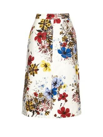 skirt midi skirt midi cotton print white