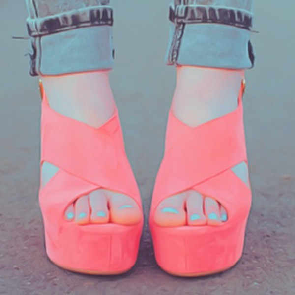 shoes heels coral wedges coral shoes wedges