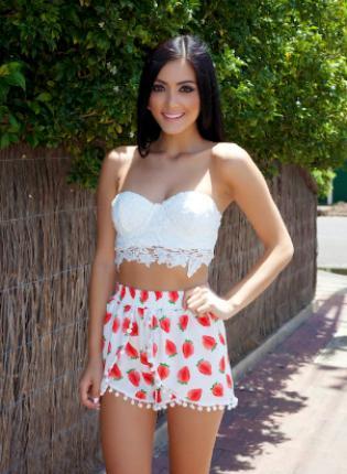Multi Shorts - Strawberry Print High-Waisted Pom Pom   UsTrendy